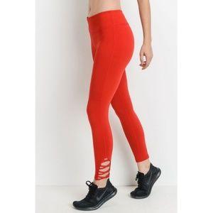 Red Lattice Strap Full Leggings